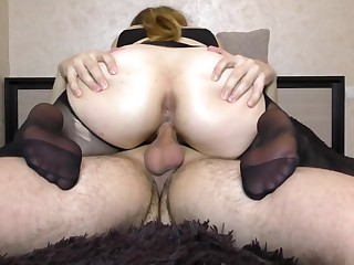 Teen Big Jam-packed with Pantyhose obtain Fucked Pussy - Handjob, cum atop feet