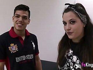 Alternative girl gets facial overwrought latino bloke