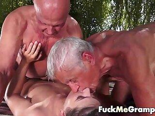 Teen fucks two old man in threesome loading=