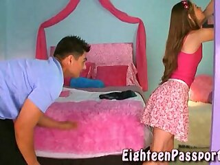 Brunette teen getting her panties wet