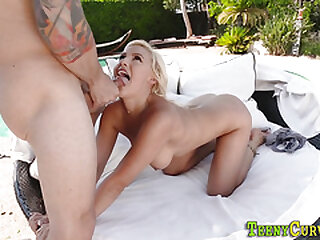 Big butt blonde riding and sucking