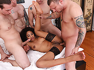 Ebony babe gangbanged by 4 white dicks
