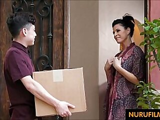 Horny cougar abuses young delivery worker