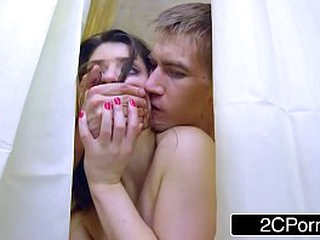 HOUSE WIFE LUCIA LOVE GETS OFF CHEATING IN THE SHOWER WHILE SUCKING OFF HUBBY BEHIND THE CURTAIN