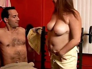Cute chubby big tits babe enjoys a facial cumshot