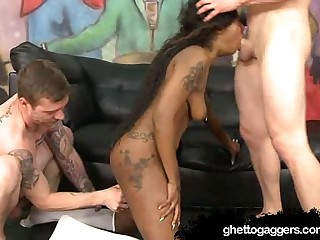 Ebony Chick Kayla Ivy Gags On White Dicks