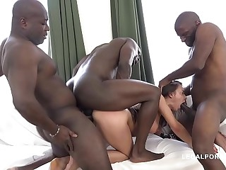Interracial extreme orgy leaves Henessy's asshole destroyed after gangbang