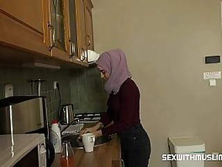 Ashely is very disobedient muslim babe, she is a very messy woman. Her husband fucks her hard in kitchen. He licks her pussy, puts his tongue deep into her wet pussy, plays with her clit and Ashely sighs with excitement loading=