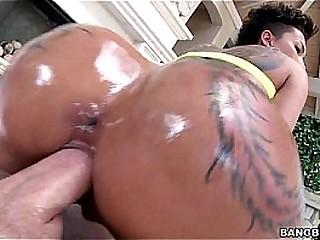 Big oiled ass bouncing on dick