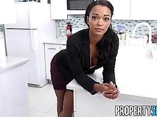 Tattooed ebony beauty Harley Dean straightens out a tenants complaint, still no hot water.