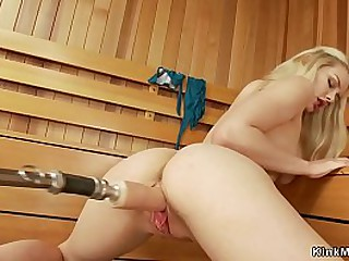 Hot shaved pussy solo blonde babe takes fucking machine in doggy position
