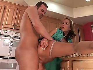 Hot MILF Sex in Bondage in the Kitchen